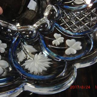 大皿1枚+小皿5枚のSet、クリアブルー、花 [No.8]