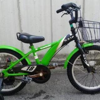 カワサキカラーの子供用自転車差し上げます。