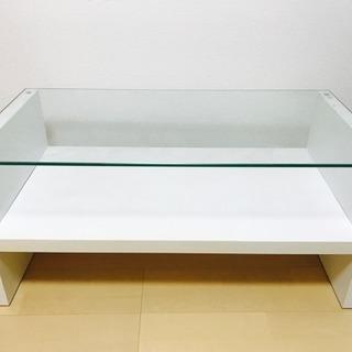 ローテーブル 白 ガラス