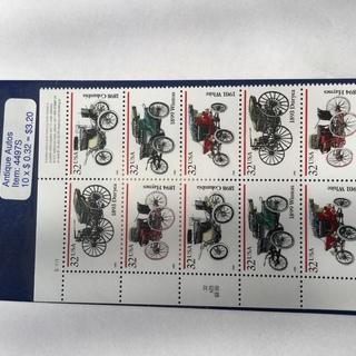 (未使用)アメリカの切手シート(初期の自動車)