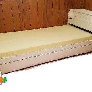 ホワイト 収納付きベッド