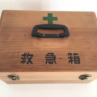 救急箱+包帯(ロールとネット型)+ピンセット2本付 【昭和レトロ】