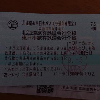 北海道、東日本パス、東京近郊~北海道まで普通列車乗れます。