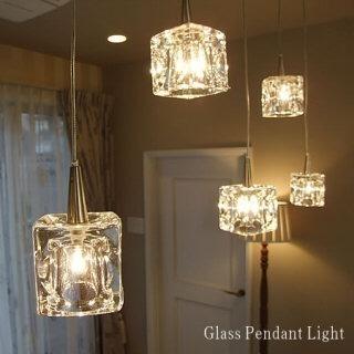 ガラスキューブシーリング ペンダントライト 3灯 LED