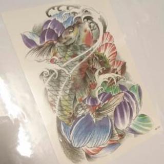 タトゥーシール     立身出世の鯉と蓮の花。