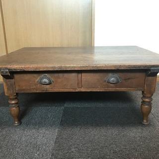 昭和レトロ 古い文机 引き出し付き 天然木  勉強机 テーブル