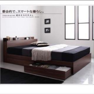 コンセント&引き出し&ポケットコイルマットレス付き シングルベッド