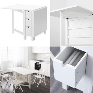 (3点出品)3.IKEA 4~6人用テーブル(NORDENゲートレ...