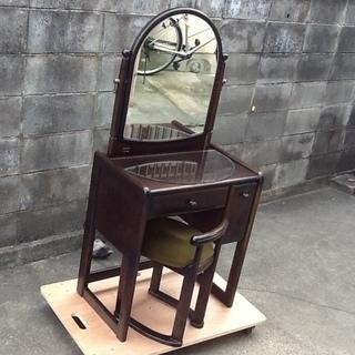 昭和レトロな鏡台 素敵な木製家具 ドレッサー コンパクトで可愛いい...