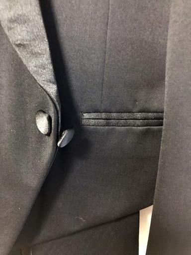 fb93cc3b6a0ee スペンサータキシード上下(ウール100%上着襟/ズボン横ストライプは絹 ...