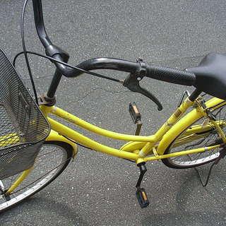 無料配達地域あり、26インチ、イエローの整備したママチャリ中古自転...