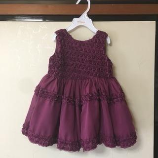 女の子 ドレス 24M ワインレッド