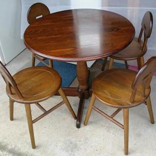 【中古】カフェテーブル 丸形テーブルセット 直径80㎝