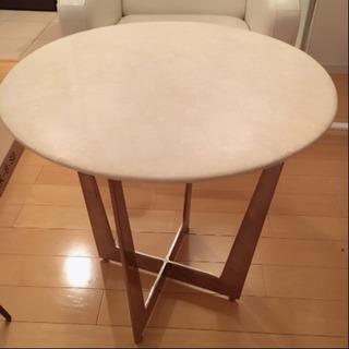 六本木高級エステ使用・大理石柄丸テーブル・おしゃれ脚・美品です