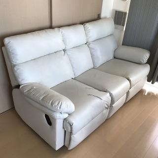 レザーソファーオットマン テーブル付 白ホワイト分解可能