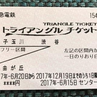 東急電鉄トライアングルチケット(二子玉川、渋谷、自由が丘間乗り放題)