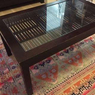 アジアン ローテーブル 木製ガラス