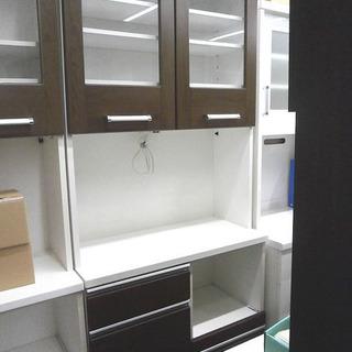 札幌 引き取り 大型キッチンボード セパレート キッチン収納 白×こげ茶