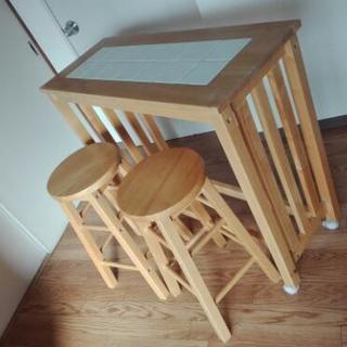 カウンターテーブル&椅子×2