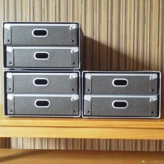 ★無印良品 『硬質パルプボックス・引出式・2段』 約幅25.5×奥...