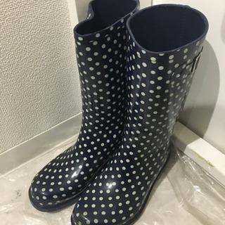 紺×白 ドット レインブーツ☆長靴