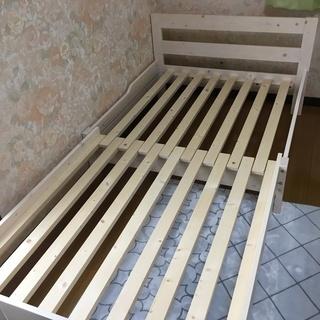 パイン天然木無垢 伸長式ベッド 伸縮ベッド