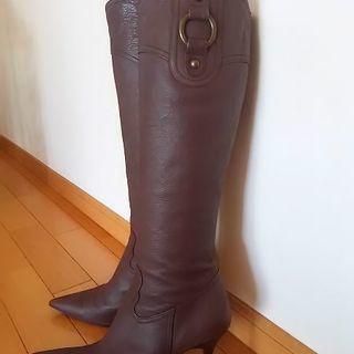 ロングブーツ  本革  プールサイド    脚長美脚が叶います