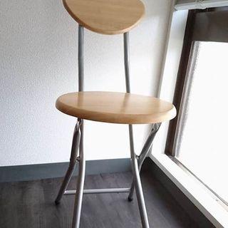 美品* 木目の 折りたたみパイプ椅子
