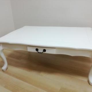 ローテーブル こたつ ホワイト 姫テーブル 猫足