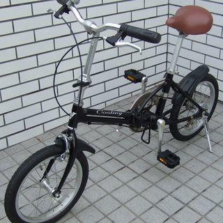 《交渉中》 16インチ 折り畳み自転車 黒色 軽量コンパクト中古
