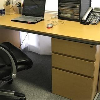 店舗用品!木製オフィステーブル!キャビネット付