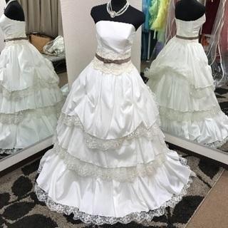 【格安】ウェディングドレス☆チョコ色のリボンで可愛らしい花嫁さんに...