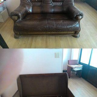 デンマーク製 総皮張り二人掛けソファー クッション部分取り外し可能...