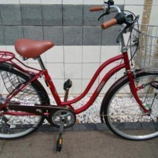 【美品】自転車 26インチ 6段変速ギア LEDオートライト 使用...