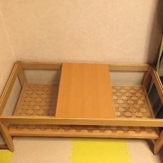 【美品】ナチュラル ローテーブル ガラス 編み目 木目調