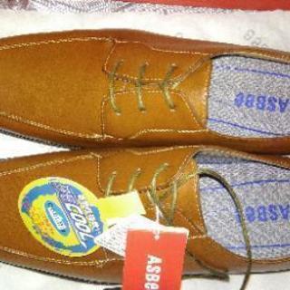未使用 ASBEE 茶革靴 27cm