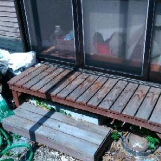 木製縁側とステップ