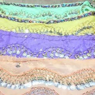 【ベリーダンス】ヒップスカーフ4枚フレアパンツ1枚トップス4枚