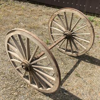 アンティーク 木製 車輪 左右セット