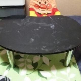雲形、黒色、ローテーブル