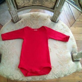 プチバトーの長袖ボディ (赤)54cm