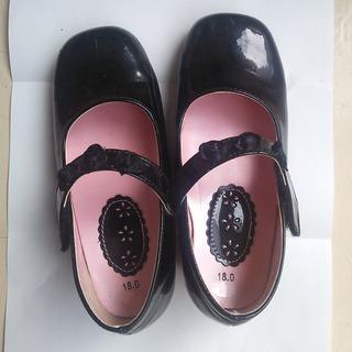 ブラックフォーマルシューズ 女児黒靴 17~18センチ 発表会、ご...