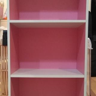 アイリスオーヤマ カラーボックス3段(ピンク/オフホワイト)