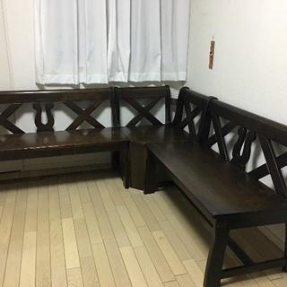ダイニングテーブルの長椅子  木製
