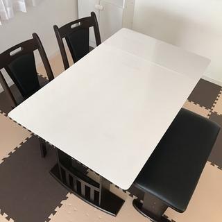 ダイニングテーブルセット 伸縮式 ベンチ 4人掛け ホワイト