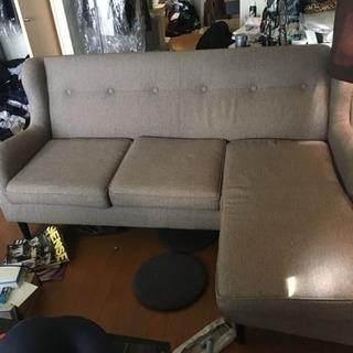 オットマン付き、三人掛けソファ