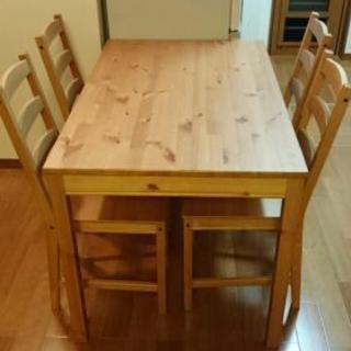 イケア ダイニングテーブルセット 椅子4脚 中古 美品 IKEA