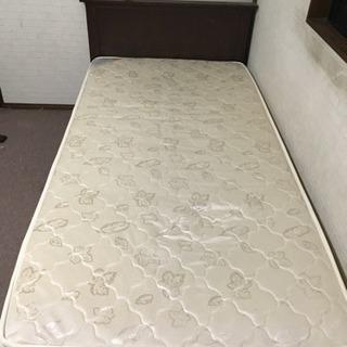 美品 無垢材仕様 収納付シングルベッド ポケットコイルマットレスセ...