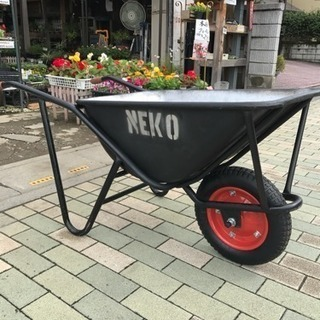 一輪車 ネコ 男のブラック ステンシルNEKO