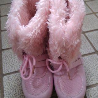 20㌢ファー付き冬ブーツ 新品 ピンク系